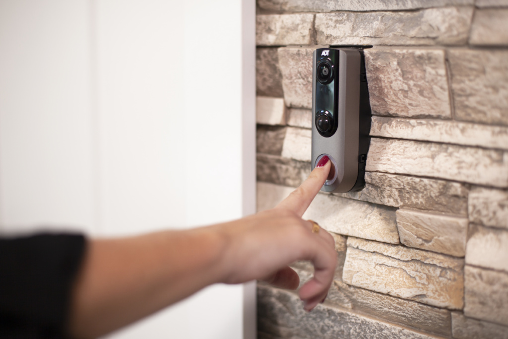 Smart doorbell being used by guest